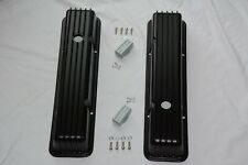 Chevrolet SBC BLACK Finned Aluminum Tall Valve Covers 283 327 350 383 400 Chevy