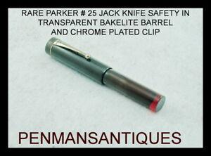 """1916 RARE PARKER """" JACK-KNIFE SAFETY """" WITH TRANSPARENT RED BAKELIITE BARREL"""