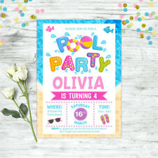 POOL PARTY INVITATIONS BIRTHDAY SUMMER POOL PARTY SUPPLIES GIRLS INVITES