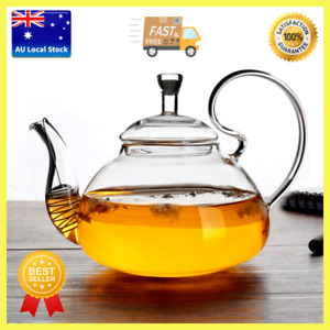 High Handle Style Glass Teapot With Spring Tea Infuser Strainer Tea Maker 600ml
