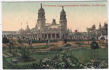 1909 IMPERIAL INTERNATIONAL EXHIBITION POSTCARD - The Gardens - London