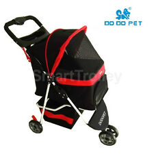 3 Wheels Pet Stroller Cat / Dog Pram Folding Travel Carrier Carriage Black