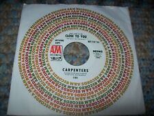 """CARPENTERS-(They Long To Be) Close To You 7"""" 45 RPM Vinyl (PROMO) 1970 A&M Karen"""