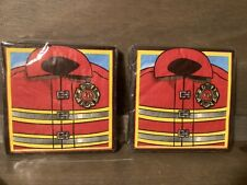 Firefighter Party Beverage Napkins 32 NAPKINS, 2 PACKS NEW SEALED Party Supplies