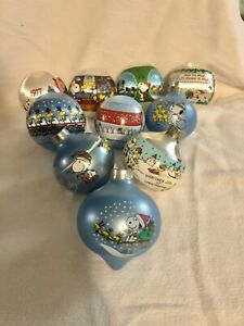 Lot of 10 Vintage Snoopy Christmas Ornaments 1970s & 1980s. Great Condition!