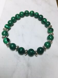 Handmade Green Malachite Gemstone Beads Stretch  Bracelets ~ 6mm