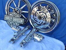 Harley Davidson Touring FLH CHROME 9 Spoke Wheels Calipers Sliders 00 to 2008