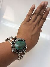 Pretty Vtg  Native American Navajo Signed J turquoise Cuff Bracelet