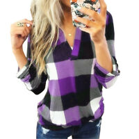 T-shirt Plaid XL Top Long Sleeve Women Blouse 2XL Blue Casual Sweater Long S-5XL