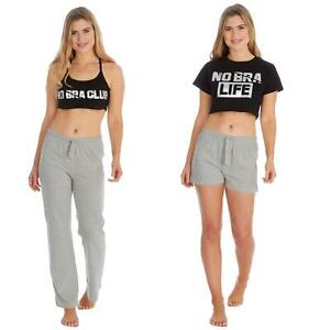 Womens/Ladies No Bra Club Bralette Lounge Pants Pyjamas Pyjama Shorts PJ Set
