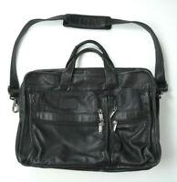 TUMI Genuine Black Leather ALPHA Expandable Briefcase LAPTOP BAG Shoulder Strap