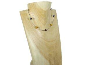 UNIQUE Multi Colour Mookaite Jasper & Sterling Silver Curve Tubes Necklace