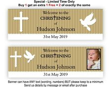Baptism Christening Hanging Decorations Sign Banner Gold Theme Dove, Holy Cross