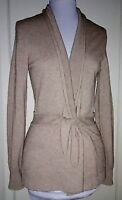 Repeat LT BROWN Long-sleeve Belted 100% Cashmere Cardigan SWEATER ~ S