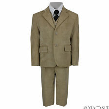 Kids Page Boy Vintage Corduroy 3 Piece Suit in Cream Black Beige Age 2 - 12 Year