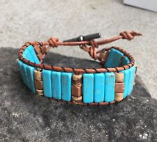 Men's Turquoise and Tiger Jasper Beaded Brown Leather Cuff Bracelet NO Silver