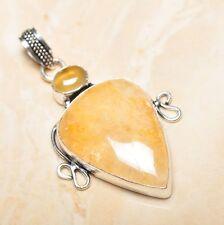 hecho a mano CALCITA Jaspe Piedra Preciosa colgante de plata ley 925 5.7cm