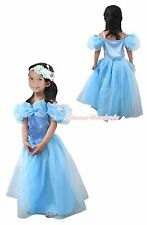 Halloween Girl Butterfly Blue Princess Cinderella Party Costume Dress Skirt 2-8Y