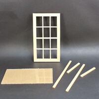 1:12 12 Pane Blank Window Frame Toy Dollhouse Miniature Bedroom Accessory Sanwoo