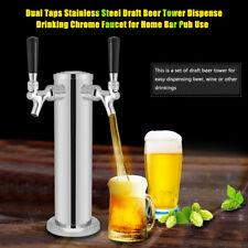 Doble Taps Acero Inoxidable Torre de Cerveza Grifo Cromo Para Dispensar Bebidas