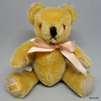 Merrythought Miniature Teddy Bear Blonde Mohair Plush 6in Jointed Foot Label UK