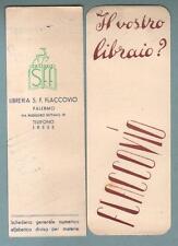 PALERMO - LIBRERIA FLACCOVIO 2 segnalibri anni '50/60