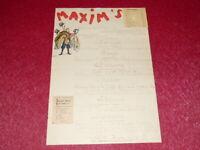 SEM - TRES RARE MENU RESTAURANT MAXIM'S 1er SEPTEMBRE 1940 WW2 PARIS OCCUPATION