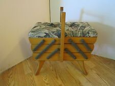 """Wood Fold Out Sewing Box Cabinet Sweden Mid Century Blonde Wood 21""""t x 18"""" W MCM"""