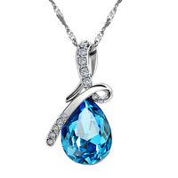 blaue kristall wassertropfen anhänger halskette rhodiniert zirkon halsketten TP