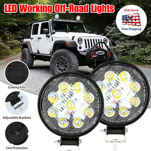 "2x4"" Round LED Spot Light Pods Work Flood Driving Fog Lamp Offroad 4WD ATV Truck"