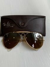 Vintage Ray Ban For Driving Bausch Lomb Aviator BULLET HOLE Shooter Ambermatic