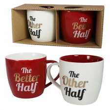 Gift Set - 2 x White & Red Mugs - The Other Half & The Better Half