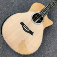 """Solid Spruce top Acoustic Guitar Ebony Fingerboard 41"""" Real abalone Golden tuner"""