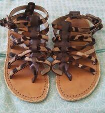 CHRISTIAN LOUBOUTIN Hola Nina Animal Print Fur Hair Leather Flats Sandals 38 B42