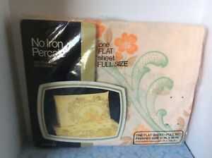 NEW Full Size Flat Sheet Set by JC Penney ~  No Iron Percale ~ Peach Floral