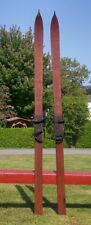 """OLD WOODEN Skis 83"""" + POINTS Snow Skiis Lots of Leather Bindings!"""