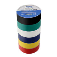 3/4in x 30ft UL-Listed Electrical Tape, Multi-Color, Pack of 6