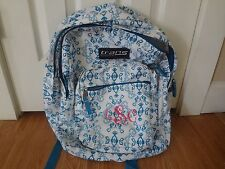 Trans by JanSport Mega School Backpack White and Blue LSC ebroidery