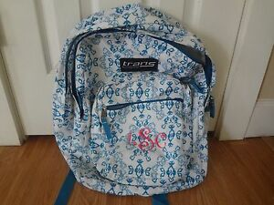 Trans by JanSport Mega School Backpack White and Blue LSC Embroidery