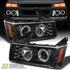 Black 2004-2012 Chevy Colorado GMC Canyon LED Dual Halo DRL Projector Headlights