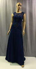 NEW SUE WONG $789 BLUE LACE ILLUSION SWEETHEART PLEATED EVENING GOWN DRESS SZ 6