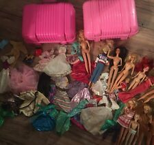 Vintage Lot Of Barbies And Clothes Cases Disney 12 Dolls 1960s