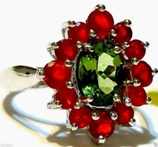 GREEN APATITE OVAL & RED FIRE OPAL RND COCKTAIL RING, SILVER, SIZE 7, 2.30(TCW)