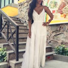 Women Backless Lace Floral Split Long Maxi Chiffon Beach Sexy Wedding Dress S-XL
