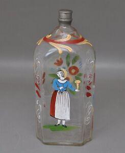 Emailbemalte Glasflasche Schnapsflasche mit Zinnverschluss 18./19. Jh.