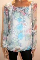 Perla Nera Brand Blue Floral Silk Chiffon Long Sleeve Blouse Top Size S  #AN02