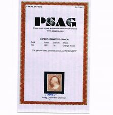 GENUINE SCOTT #10A USED 1851 TYPE-II REMOVED CANCEL PSAG CERT  IF MINT SCV $3250
