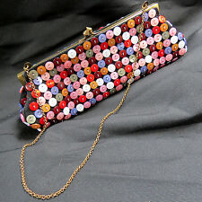 Opalescent Pearlized Button Suede Evening Clutch & Chain Purse Folk Boho Tote