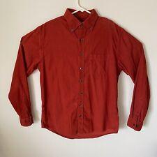 Lands End Mens Button Front Corduroy Shirt Red Burgundy Medium 15-151/2 Tall EUC