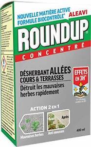 Désherbant Total Puissant Roundup 400ml Concentre pour Jardin Jusqu'a 400 m²